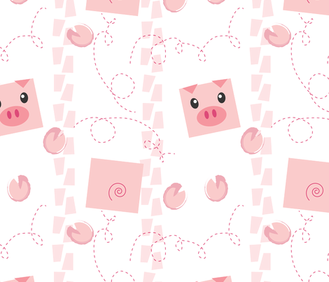 Dancing Pigs on White fabric by me-udesign on Spoonflower - custom fabric