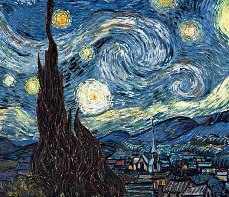 Van Gogh - The Starry Night (1889) (20x24) fabric by studiofibonacci on Spoonflower - custom fabric