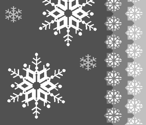 snowflakes_on_grey3 fabric by squeakyangel on Spoonflower - custom fabric