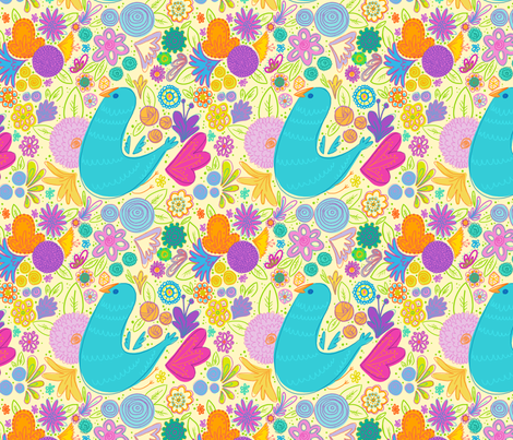Birdy Flowers fabric by spicysteweddemon on Spoonflower - custom fabric