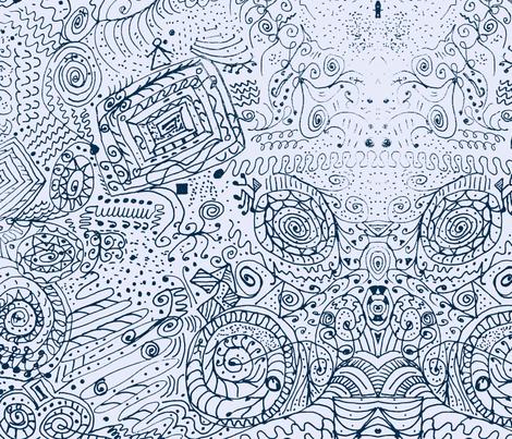 Doodle Spiral Swirlygigs in Dark Blue fabric by fentonslee on Spoonflower - custom fabric