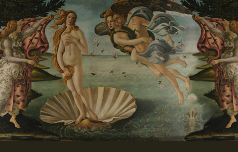 Botticelli Birth of Venus and Primavera Large Horizontal With Stripe fabric by peacoquettedesigns on Spoonflower - custom fabric