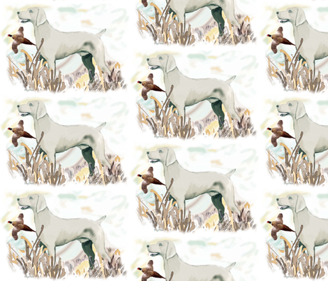 weimaraner and pheasant fat quarter fabric by dogdaze_ on Spoonflower - custom fabric