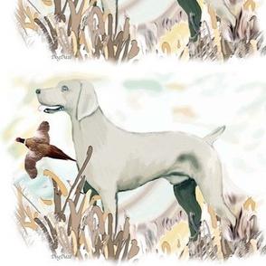 weimaraner and pheasant fat quarter