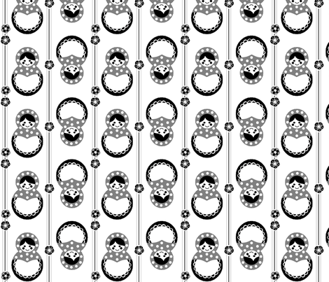 Russian Dolls in black and white fabric by squeakyangel on Spoonflower - custom fabric