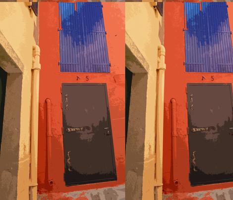 Black Door, Blue Window fabric by susaninparis on Spoonflower - custom fabric