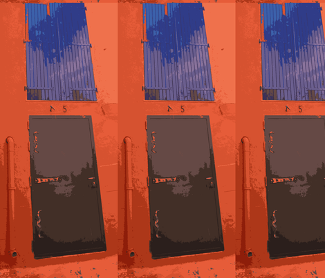 Black Door, Blue Window-variation on the theme fabric by susaninparis on Spoonflower - custom fabric