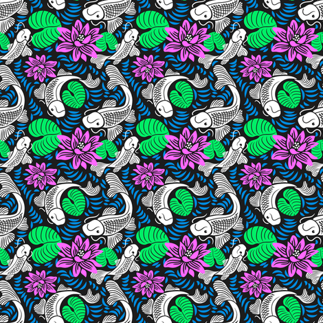 Koi Pond - Black Water fabric by dianne_annelli on Spoonflower - custom fabric