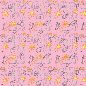 You Are My Sunshine Elephants in Pink