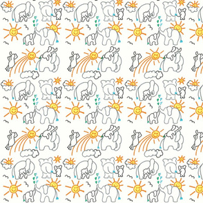 You Are My Sunshine Elephants in White Small
