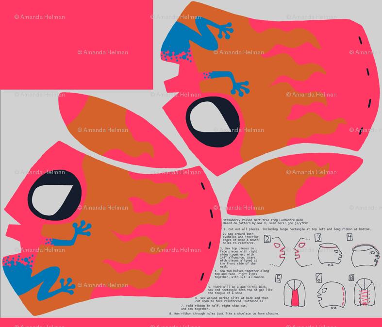 Poison Dart Frog Lucha Libre Mask giftwrap - mongiesama - Spoonflower