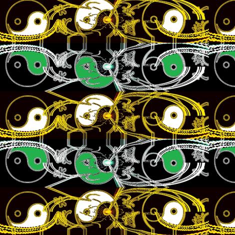 yin_and_yang_art_greenandblack fabric by _vandecraats on Spoonflower - custom fabric