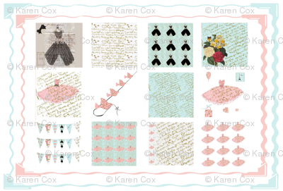 Quilting Squares in French Script Collection