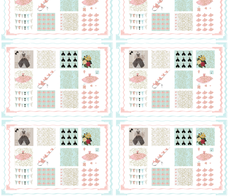 Quilting Squares in French Script Collection fabric by karenharveycox on Spoonflower - custom fabric