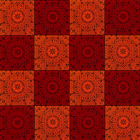 Red and Orange Textured Checkerboard fabric by whimzwhirled on Spoonflower - custom fabric