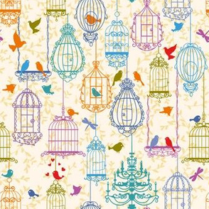 Birds and cages vintage pattern warm colors