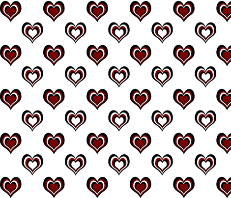 Black 'n' Hearts multi large fabric by glanoramay on Spoonflower - custom fabric