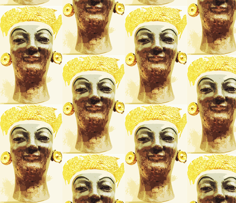 If You Had This Much Gold, You'd be Smiling Too fabric by susaninparis on Spoonflower - custom fabric