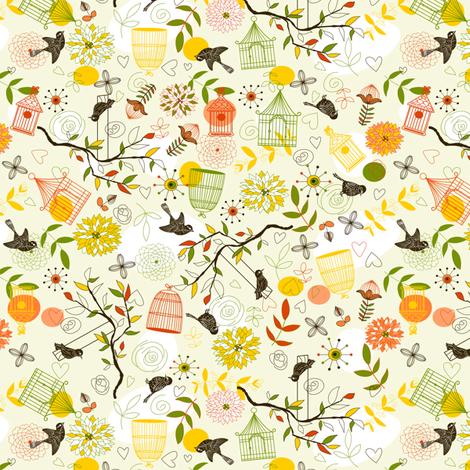 Birds pattern fabric by innaogando on Spoonflower - custom fabric