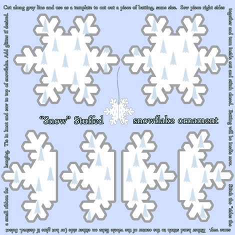 Snow Stuffed Snowflake Ornament fabric by tracydb70 on Spoonflower - custom fabric