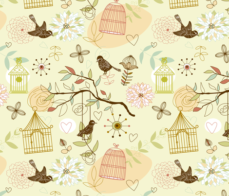 Birds pattern fabric by innaogando on Spoonflower - custom fabric
