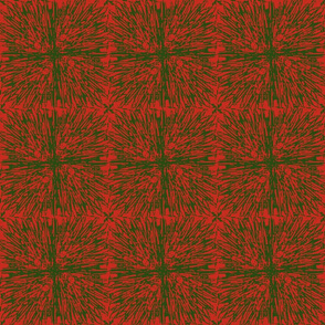Christmas tablecloth green on red