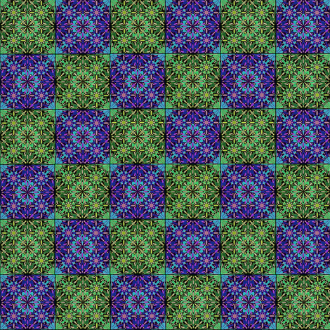 Purple and Green Floral Checkerboard Fabric fabric by whimzwhirled on Spoonflower - custom fabric