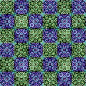 Purple and Green Floral Checkerboard Fabric