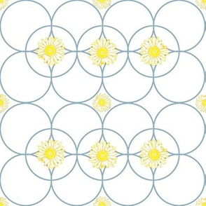 Chained Daisies -- in yellow on blue rings