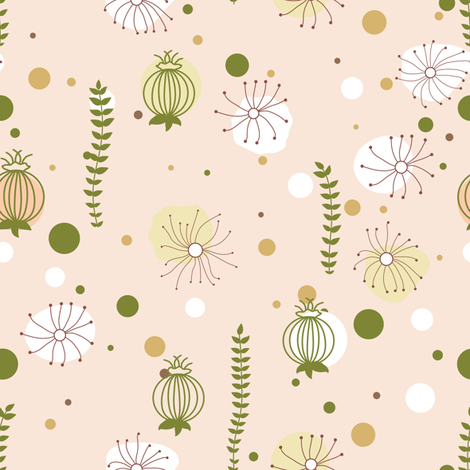 Herbs. Beige, green fabric by innaogando on Spoonflower - custom fabric