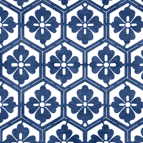 Japanese Hexagonal Stencil1 small indigo-white fabric by mina on Spoonflower - custom fabric