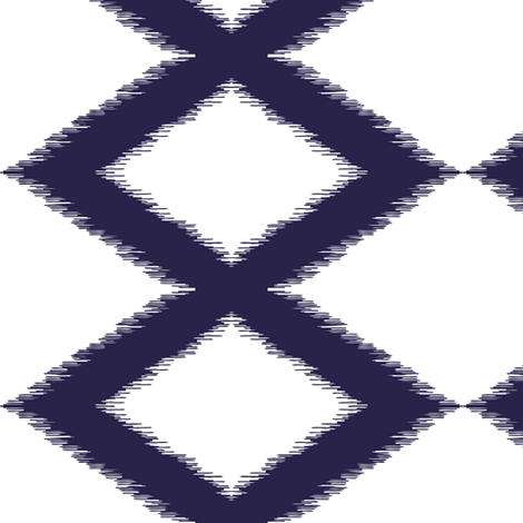 Diamond ikat - indigo and white fabric by lucypatterson on Spoonflower - custom fabric
