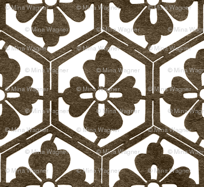 Japanese Hexagonal Stencil1 (small) antique-brown white