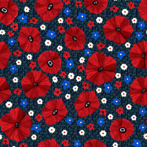 Poppy Fields fabric by kezia on Spoonflower - custom fabric