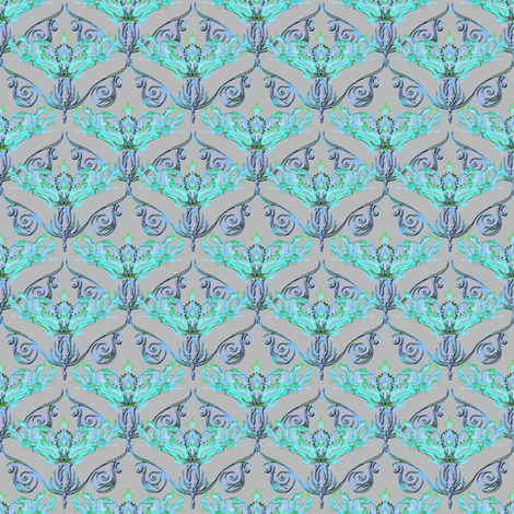 Nouveau aqua fabric by joanmclemore on Spoonflower - custom fabric