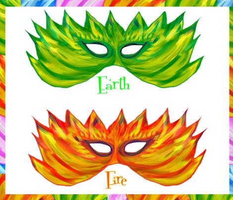 Four Elements Mask fabric by elaur on Spoonflower - custom fabric
