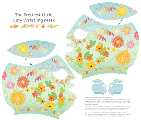 The Prettiest Little Girly Wrestling Mask fabric by kayajoy on Spoonflower - custom fabric