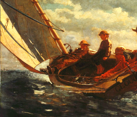 Breezing Up (A Fair Wind) - 1876 - Winslow Homer fabric by studiofibonacci on Spoonflower - custom fabric