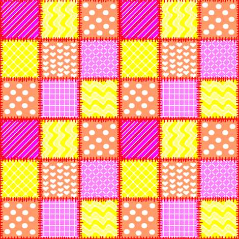 patchwork in pink, orange & yellow fabric by squeakyangel on Spoonflower - custom fabric