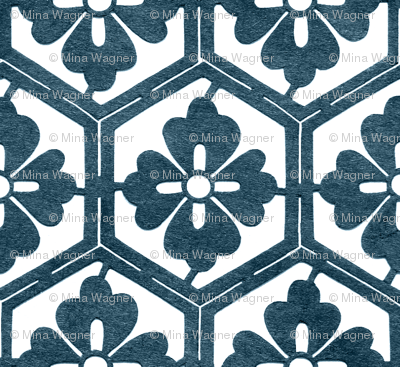 Japanese Hexagonal Stencil1 marine-blue & white