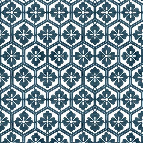 Japanese Hexagonal Stencil1 marine-blue & white fabric by mina on Spoonflower - custom fabric