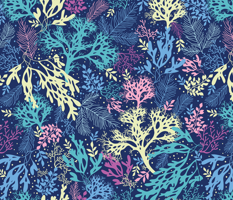 Underwater plants silhouettes fabric by oksancia on Spoonflower - custom fabric