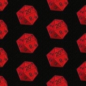 d20 gaming, red and black die