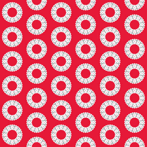 Ditzy Dress Circle - Cherry and Silver fabric by giddystuff on Spoonflower - custom fabric