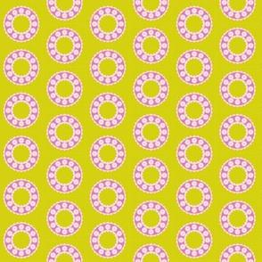 Ditzy Dress Circle - Mustard and Candyfloss
