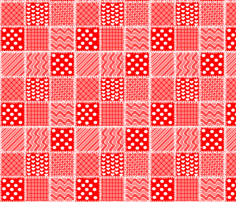 patchwork in oranges, reds & white fabric by squeakyangel on Spoonflower - custom fabric