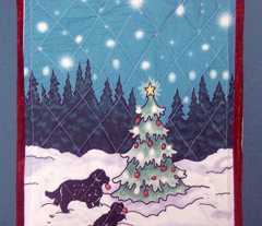 Newfies decorating the Christmas tree Wall Hanging