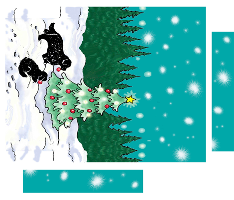 Newfies Decorating The Christmas Tree Wall Hanging Fabric Dogdaze