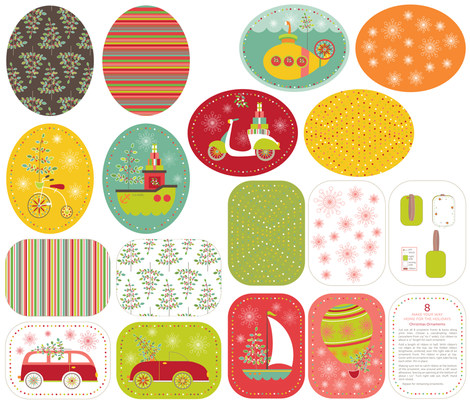Home For the Holidays (set of 8) Christmas Decorations fabric by kayajoy on Spoonflower - custom fabric