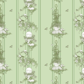 Green Stripe Garden Toile Small ©2011 by Jane Walker